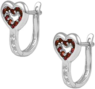 Children & Teens Sterling Silver Heart Shaped Simulated Birthstone Latch Back Earrings