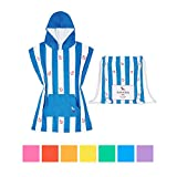 Dock & Bay Kids Poncho Microfiber towel (Blue Anchor, Small) - hooded changing robe swim poncho, quick dry & compact
