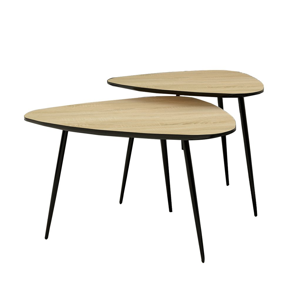 Clipop nest 2 tables nesting tables modern coffee table end side table metal frame glass top living room furniture heart shape amazon co uk kitchen