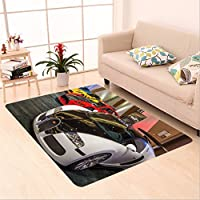 Sophiehome skid Slip rubber back antibacterial  Area Rug Bugatti Veyron, Falcon F7, and Lingenfelter Z06 Corvette_512968354 Home Decorative