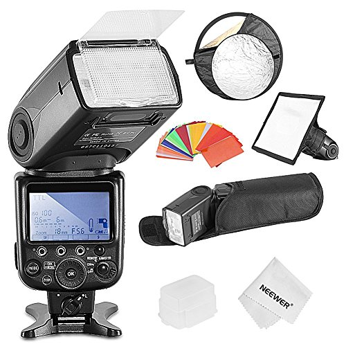 Neewer NW910/MK910 i-TTL 1/8000s HSS LCD Screen Speedlite Master/Slave Flash Kit for Nikon DSLR Cameras include:(1)NW910/MK910 Flash+(1)Soft&Hard Diffuser+(1)Reflector+(1)35 Color Filter+(1)Clothの商品画像