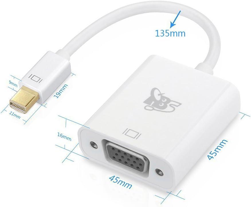 C/âble 15cm avec Connexion Plaqu/é Or Full HD r/ésolution 1920 x 1200 et 1080p TBS2233 Adaptateur HD Mini Displayport//Thunderbolt vers VGA
