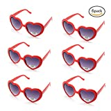 6 Neon Colors Heart Shape Party Favors Sunglasses, Multi Packs (6-Pack Red)