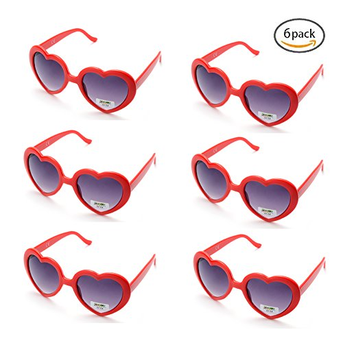 6 Neon Colors Heart Shape Party Favors Sunglasses, Multi Packs (6-Pack - Sunglasses Hearts