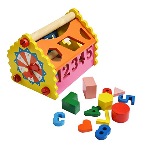 (shumee-toys revisited Wooden Number & Shape Sorting House (1.5 Years+) - Addition, Subtraction & Time-Telling)