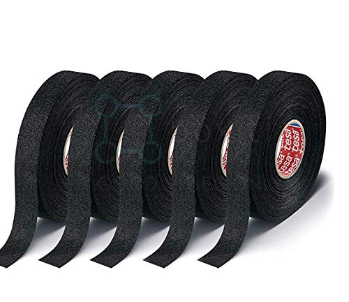Tesa Black Fuzzy Fleece Interior Wire Loom Harness Tape for VW, Audi, Mercedes, BMW 19 mm X 15 Meters (5 Rolls)