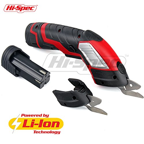 Hi-Spec 3.6V Multi-Cutter 1300 mAh Lithium-Ion Electric Power Scissors with Safety Switch & Extra Battery and 2 x Cutting Blades. Up to 70 Minutes Continuous Cutting Power per Charge