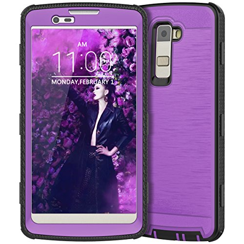 LG K10 Case, LG Premier LTE Case, CinoCase Heavy Duty Rugged Armor Protective Case Hybrid TPU Bumper Shockproof Case with Brushed Metal Texture Hard PC Back for LG K10 / Premier LTE L62VL L61AL Purple (Premier Metal)