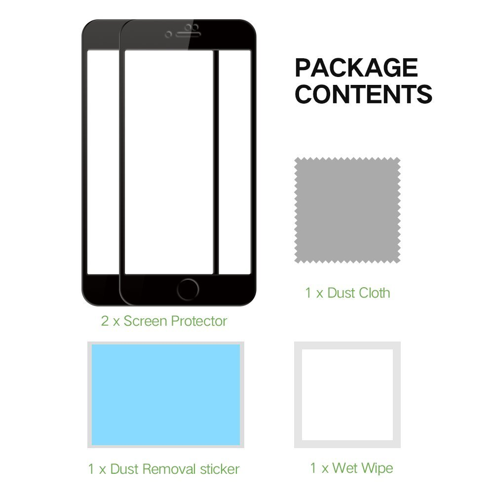 EyeO2 Screen Protector for 7 Tempered Glass Screen Protector iPhone 7 [9H Hardness] [Full Coverage] [HD Clean] Edge to Edge Protective Film iPhone Accessories ( Black 2 pack)