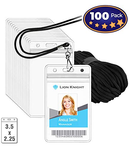 Premium Vertical ID Tag Nametag Name Badge Holders with Woven Lanyard (Satin Black 100 Pack) - Plastic Name Badge Holders with Lanyard Black-Seal-able Waterproof - Business Events Favors-by IRISING]()
