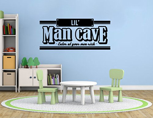 Lil Little Man Cave Vinyl Wall Decal Quote - Nursery Playroom Vinyl Wall Sticker Art Mancave Decal #qlmc1