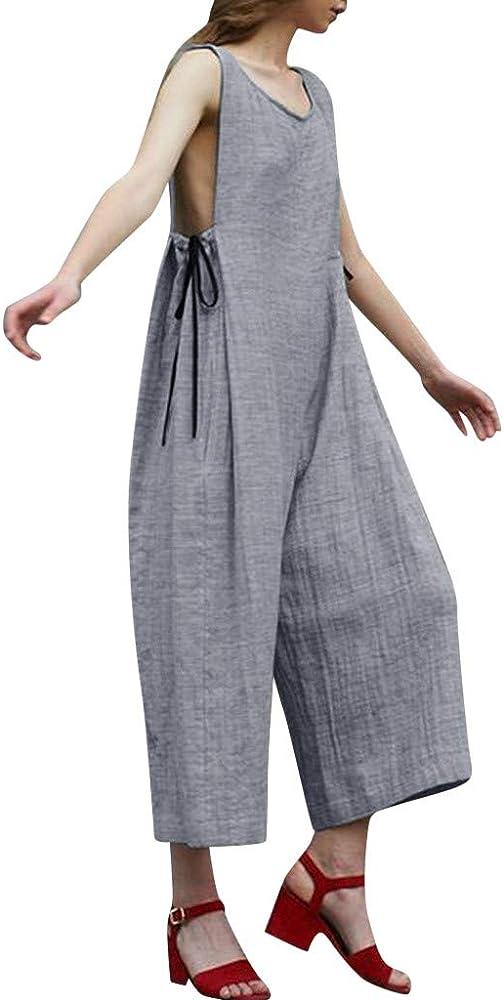 Mono de algodón y Lino sin Mangas para Mujer 903111 Mujeres sin Mangas de Cuello Mono Pantalones Playsuit Sexy Jumpsuit Monos Largos Mujer Verano (M, GY): Amazon.es: Ropa y accesorios