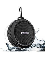 2019 Nuovo altoparlante Bluetooth portatile, altoparlante Bluetooth impermeabile con riproduzione 6h, audio HD potente, ventosa e gancio solido, compatibile con iOS, Android, PC, Pad (Black-4)