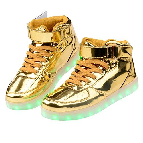 Quan Zhihong Women & Men Alta Cima Usb Ricarica Scarpe Led Lampeggiante Sneaker Oro