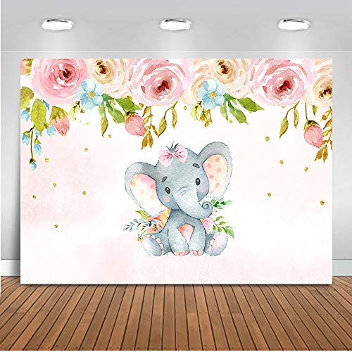 Mehofoto Elephant Baby Shower Backdrop Pink Elephant Floral Birthday Background 7x5ft Vinyl Baby Girls Baby Shower Birthday Party Banner -