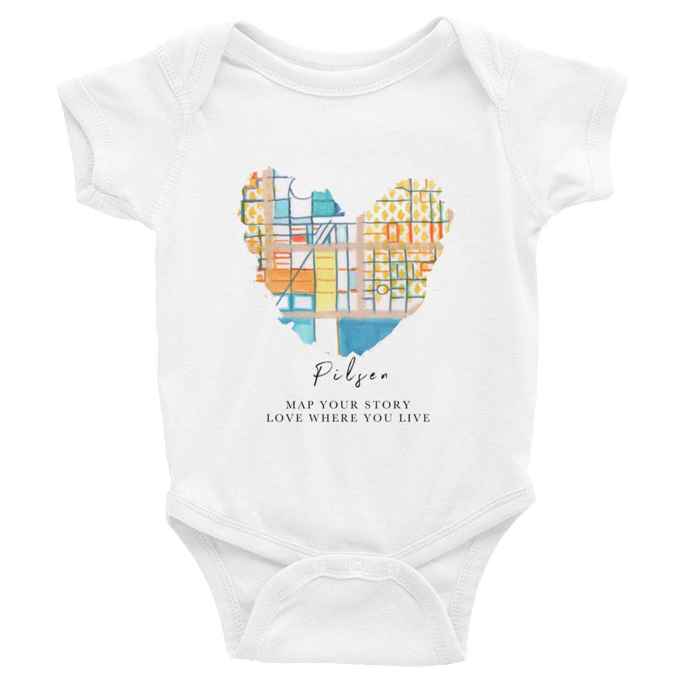Carland Cartography Chicago Map Infant Bodysuit Cotton 6-24M White