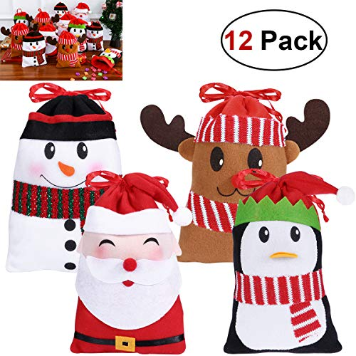 Hemoton 12PCS Large Christmas Candy Bags Gift Treat Bags for Favors and Decorations, Super Cute Snowman, Santa Claus, Deer, Penguin