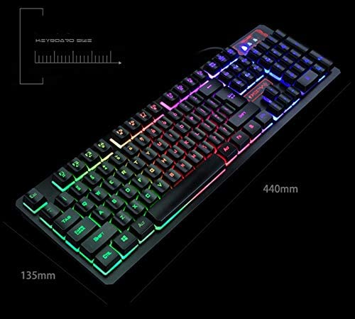 Color : Black XIONGHAIZI Wired Keyboard and Mouse Set Waterproof Game Dedicated DPI 4 File Adjustable HD Characters Black Office
