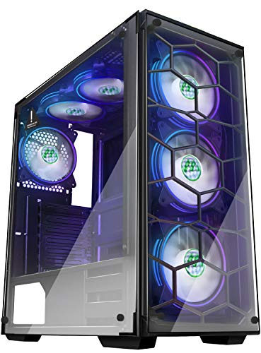 MUSETEX Phantom Black ATX Mid-Tower Desktop Computer Gaming Case USB 3.0 Ports Tempered Glass Windows with 6pcs 120mm Voice Control LED RGB Fans Pre-Installed (907W6)