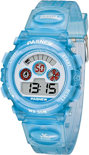 Kids Digital Watches - VOEONS Sports Watch for Boys Girls, Children Waterproof Alarm Watch, Light Blue Image