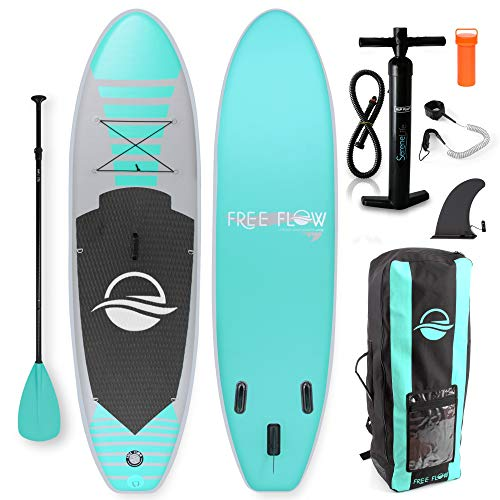 (SereneLife Premium Inflatable Stand Up Paddle Board (6 Inches Thick) with SUP Accessories & Carrying Storage Bag | Wide Stance, Bottom Fin for Paddling, Surf Control, Non-Slip Deck | Youth & Adult)