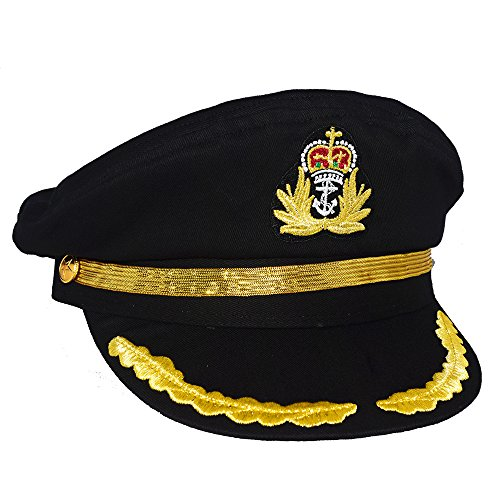 Sailor Anchor Navy Short (Chiclinco Admiral Captain Yacht Hat with Adjustable Snapback & Gold Embroidery Anchor Skippers Cap for Club Pub Party Costume Accessory (Black 2))