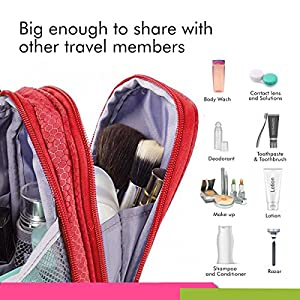Bago Hanging Toiletry Bag For Men & Women - Toiletries Travel Organizer (Red)