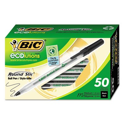 Ecolutions Round Stic Ballpoint Pen, Black Ink, 1mm, Medium, 50/Pack