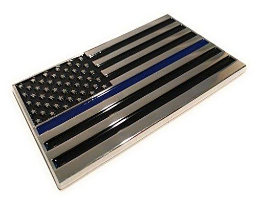Shadow Six Romeo Military Army Chrome Metal Decal Auto Emblem (Back The Blue Flag) (Metal Car Blue)