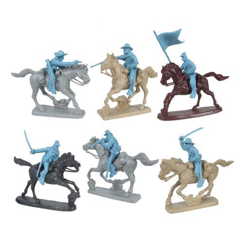 (Civil War Charging Cavalry Plastic Army Men: LIGHT BLUE Set of 6 54mm Figures and 6 Horses - 1:32 scale)