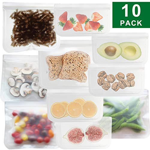 - JALOUSIE Reusable Storage Bags (10 Pack) Extra Thick Zipper Bag for Snacks, sandwiches, stationery, travel 3-1-1 clear bag