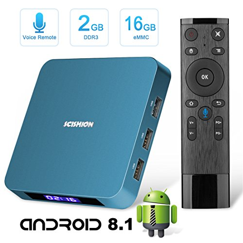 Android TV Box,Tishow Android 8.1 WiFi Smart Internet TV Box with 2GB RAM 16GB ROM,Rockchip 3328 Quad-core Cortex-A53 up to 1.5GHz Support 3D&4K Full HD with Remote Control