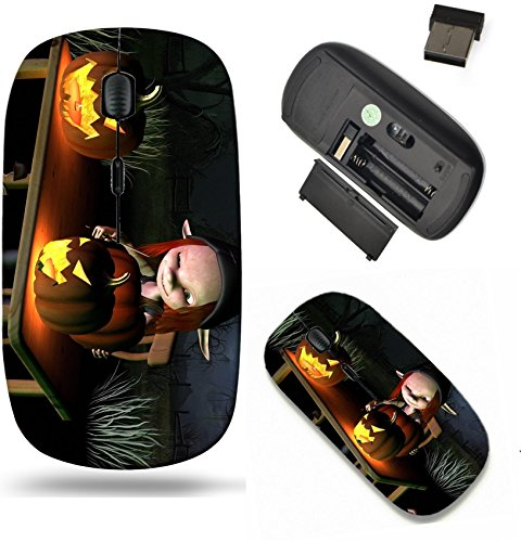 Liili Wireless Mouse Travel 2.4G Wireless Mice with USB Receiver, Click with 1000 DPI for notebook, pc, laptop, computer, mac book IMAGE ID 32913908 Little goblin carving spooky Halloween pumpkin lant