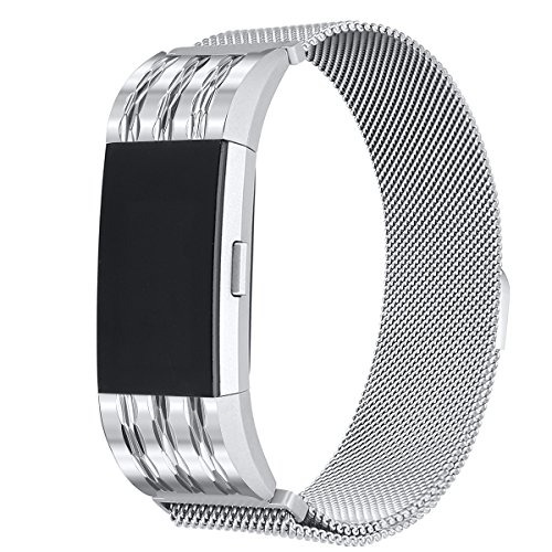 bayite Milanese Loop Bands Compatible Fitbit Charge 2, Stainless Steel Magnet Lock Metal, Silver with Rhombus Pattern Small
