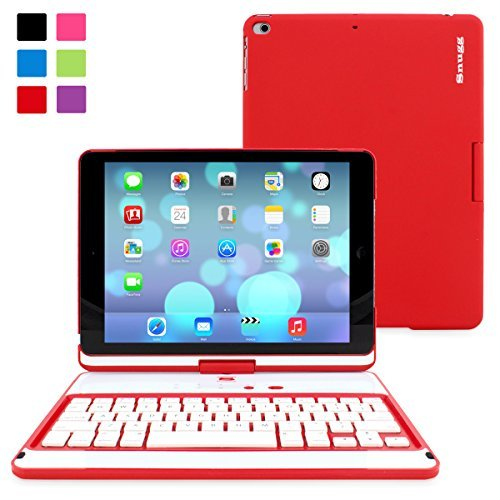 "iPad Air and New iPad 2017 9.7"" Keyboard, Snugg [Red] Wireless Bluetooth Keyboard Case Cover 360° Degree Rotatable Keyboard for Apple iPad Air and New iPad 2017 9.7"""