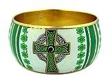 Gold Tone and Enamel Bangle Bracelet with Celtic Cross Design