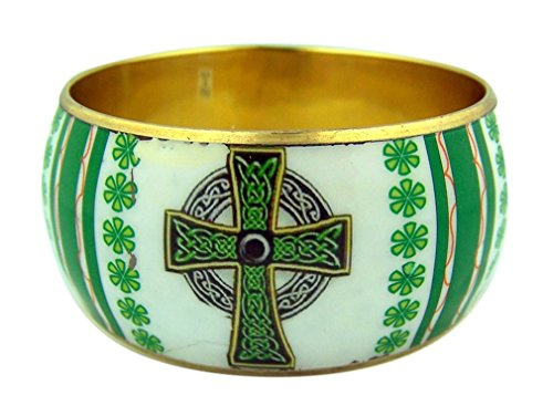Gold Tone and Enamel Bangle Bracelet with Celtic Cross Design by Religious Gifts