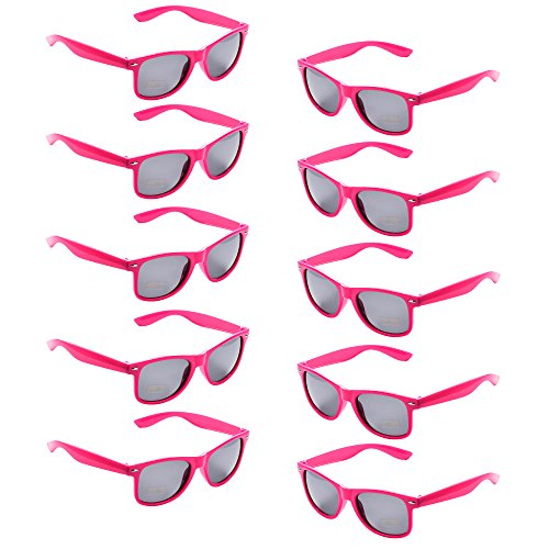 10 Packs UV Protection Neon Colors 80's Retro Style Party Favors Sunglasses(Hot ()