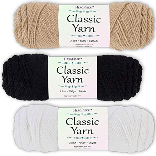 Soft Acrylic Yarn 3-Pack, 3.5oz / Ball, Tan Brown + Night Black + Snow White. Great Value for Knitting, Crochet, Needlework, Arts & Crafts Projects, Gift Set for Beginners and pros Alike