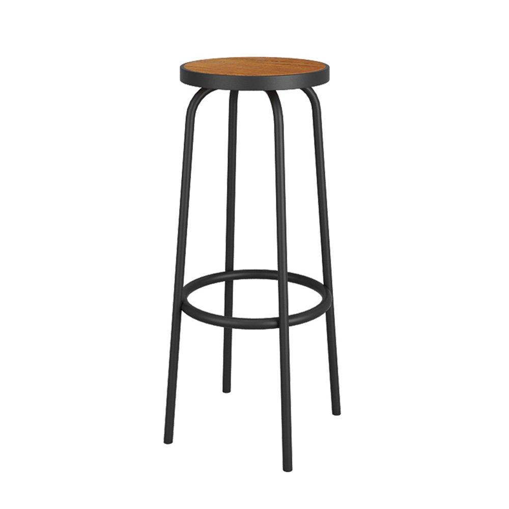 現代ミニマル錬鉄製ラウンジチェアレトロバーカフェバーチェアソリッドウッドスツールサイズ30 * 30 * 70cm B07CWYXR1J