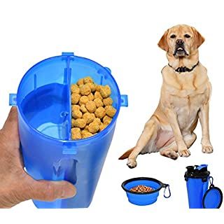 ARAD 2 in 1 Portable Pet Water Bottle and Food Container with Pet Bowl, Complete Food Solution, Perfect for Travel or Furry Best Friends On The Go