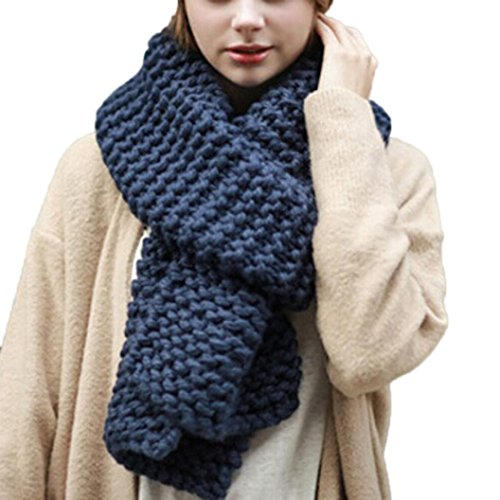 Fall Women Girl Warm Knit Neck Circle Multi-purpose Scarves (Navy) (Dotted Knit Dress)