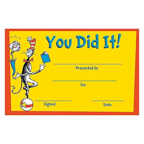 Dr. Seuss You Did It! Certificates ()