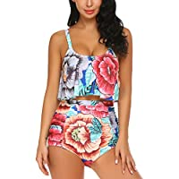 ADOME Printed Falbala High Waisted Bikini Set Womens Tummy Control 2PC Bathing Suit