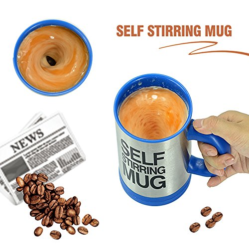 Self Stirring Mug Automatic Mixing Cup for Coffee, Tea, Beverage Beat Gift for Men and Women (Blue)