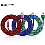 Premium Extra Long Nylon Braided USB 2.0 A Male to Micro B Charging Cables for Amazon Kindle Fire, HD, HDX, Kindle Paperwhite, Voyage, Oasis, Amazon Tap