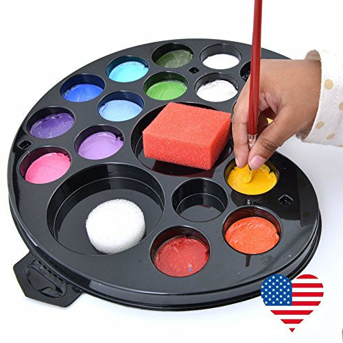 FACE PAINT KIT. All you need for 160+ Face-paints. Bonus E-Guide Instructions, 100% USA Made Hypoallergenic Quality Palette,16 Colors, Glitter, Brushes, Sponges, Moms LOVE (Cute Halloween Fundraising Idea)