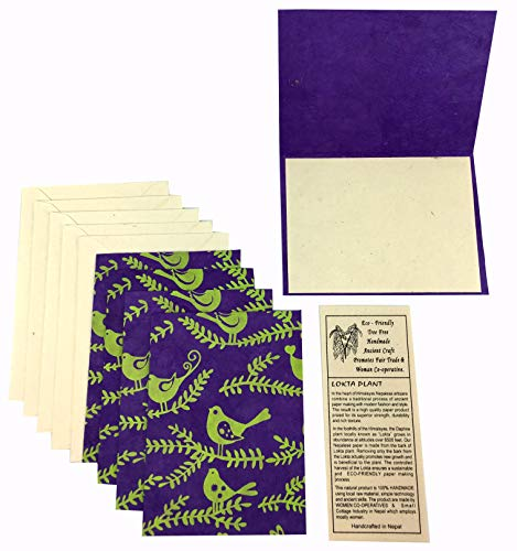 Nepal Greeting Card and Envelope Set: Bird Notecards, Handmade Lokta Paper