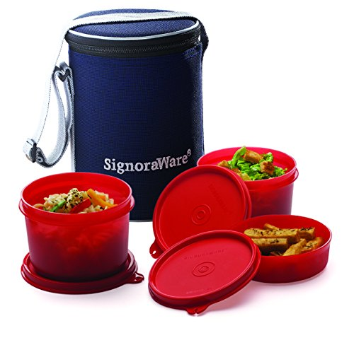 Signoraware Executive Medium Lunch Box with Bag, 15cm, Deep Red