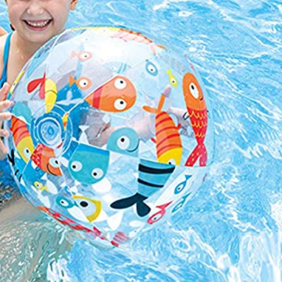 BESPORTBLE 3PCS Beach Pool Balls Toys Inflatable Clear Beach Ball for Summer Pool Party Fun Games Activities - Random Pattern 14inch/35cm: Sports & Outdoors